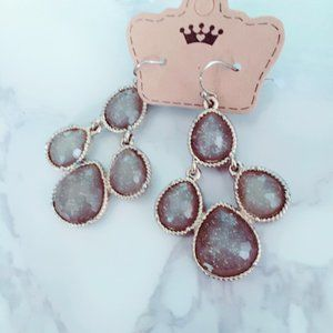 Taupe Glitter Chandelier Goldtone Earrings